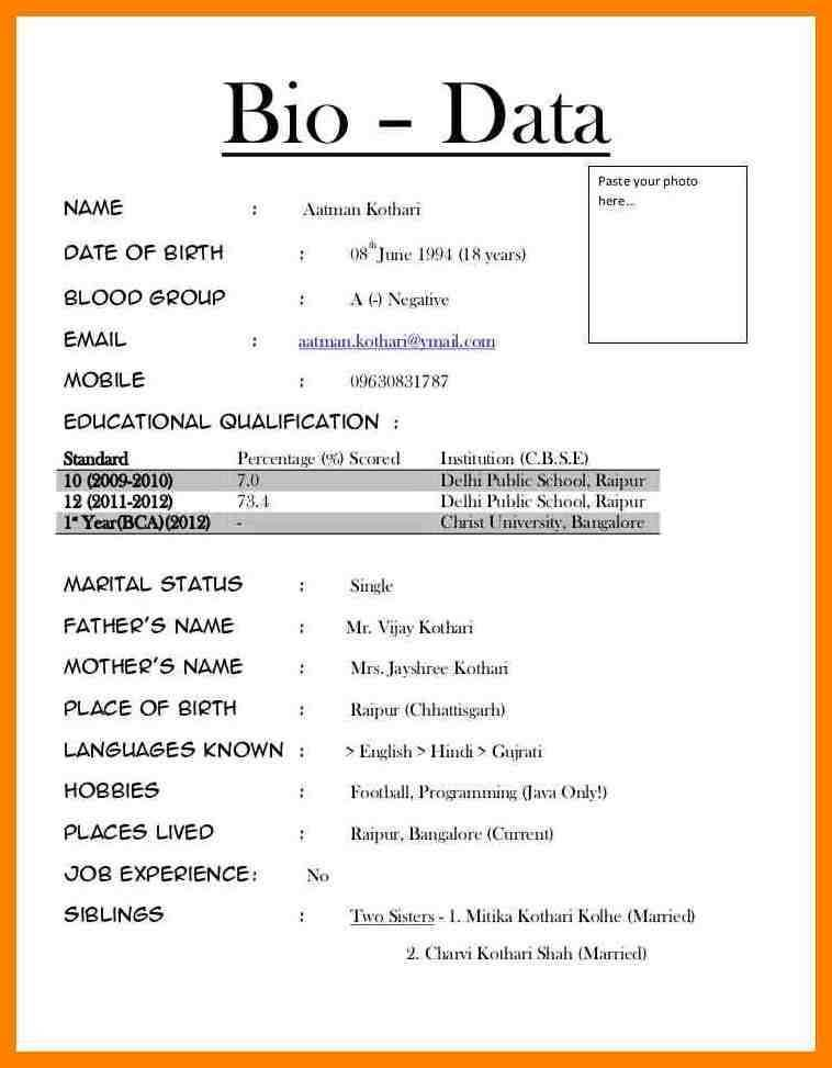 89 biodata form for students in 2020