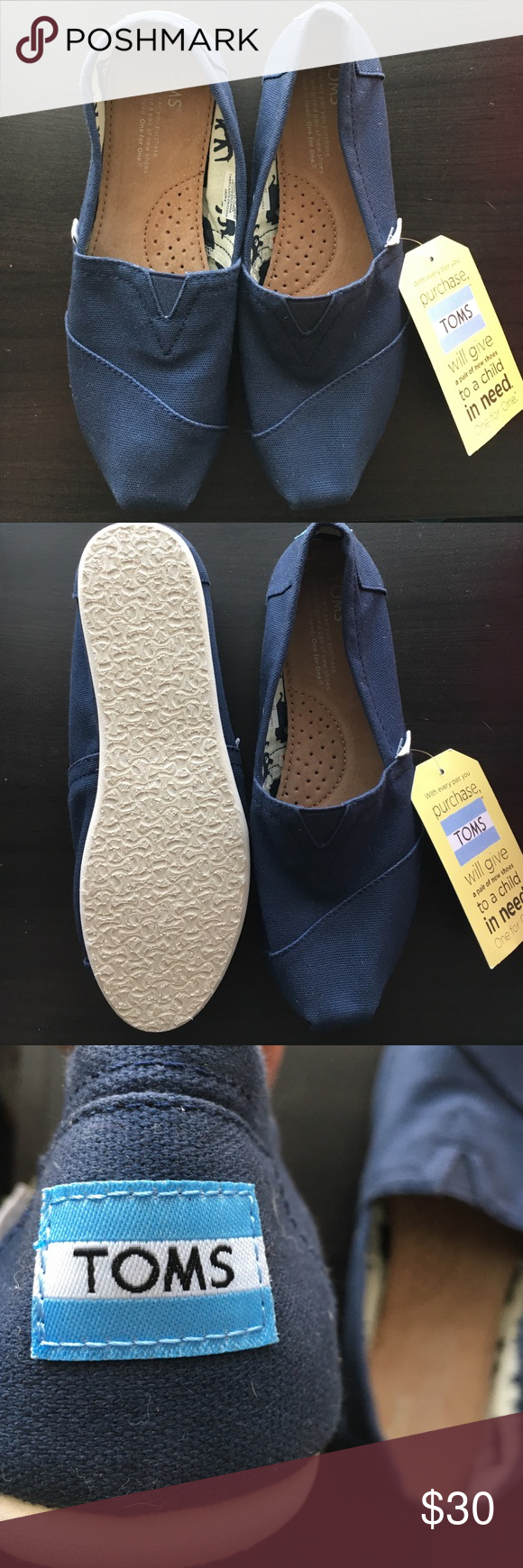 a50bfe5b645 TOMS classics Classic slip on • canvas • navy blue • brand new with tag •  never worn TOMS Shoes Flats   Loafers