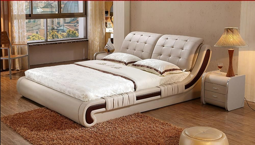Bedroom Furniture Set Modern Leather Bed 1 Bed 2 Night Stand 1