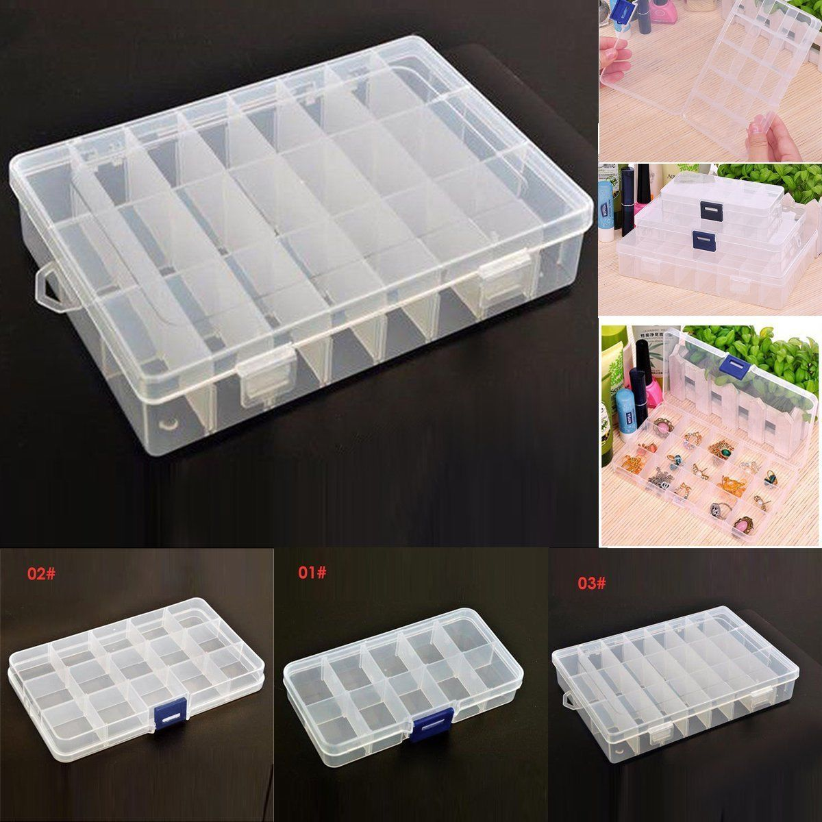 Portable Detachable Jewelry Ring Display Organizer Box Tray Holder Storage Case Plastic Box Storage Jewellery Storage