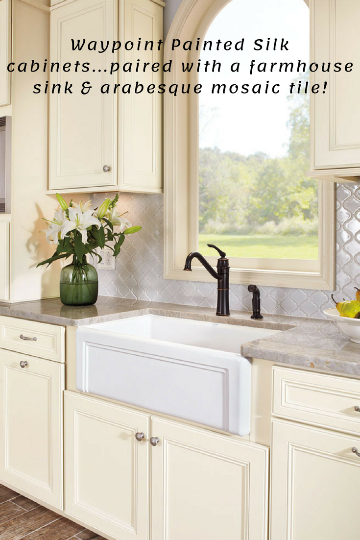 Waypoint 750 Painted Silk Kitchen Cabinets Paired With A Cast Iron Apron Front Farmhouse Sink Topped With Arabesque Mo Kitchen Remodel Kitchen Design Kitchen