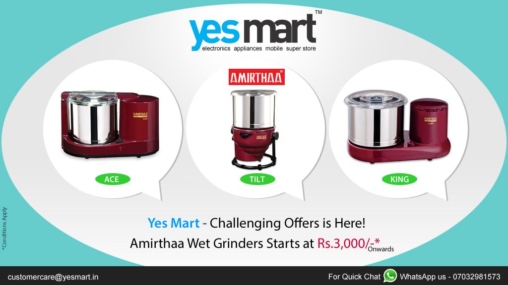 ‪#‎YesMart‬ ‪#‎Challenging‬ ‪#‎Offers‬. 'Table Top Wet ‪#‎Grinders‬' from ‪#‎Amirthaa‬ Brand in great Offers Exclusively @Yesmart Stores. Grab these wet Grinders to your Home Today, before the Offer Ends. Price Range Starts from Rs.3000/- Onwards. Hurry up Now. For more info visit - www.yesmart.in