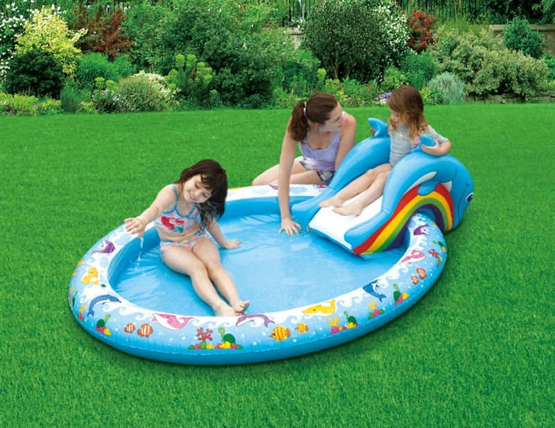 Kids Pools With Slides dolphin kiddie pool with slide, turn your own backyard into your