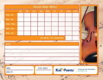 Music Practice Charts for Kids Track Progress Kid Pointz Kid - progress chart for kids
