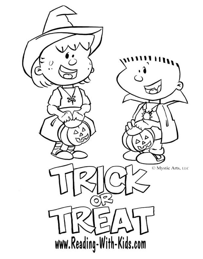 Free Halloween Trick Or Treat Coloring Pages And Other Fun Game Puzzles For The Kids Halloween Coloring Book Free Halloween Coloring Pages Coloring Pages
