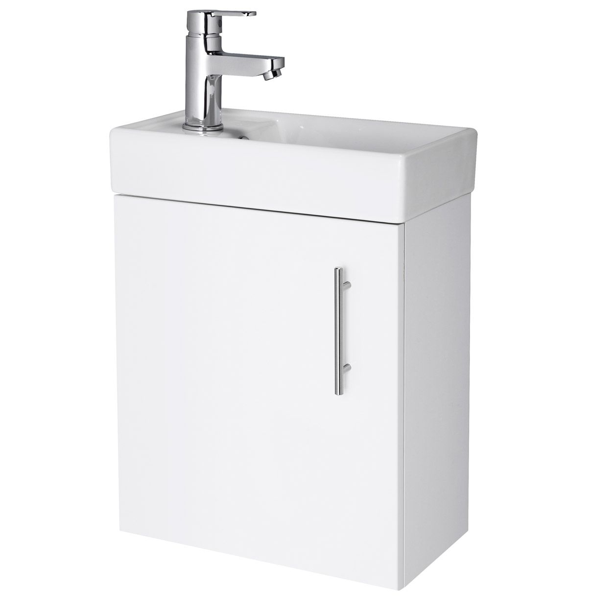 Premier Minimalist Compact Wall Hung Vanity Unit With Basin 400mm Wide Gloss White 1 Tap Hole Small Bathroom Vanities Bathroom Vanity Units Cloakroom Vanity Unit