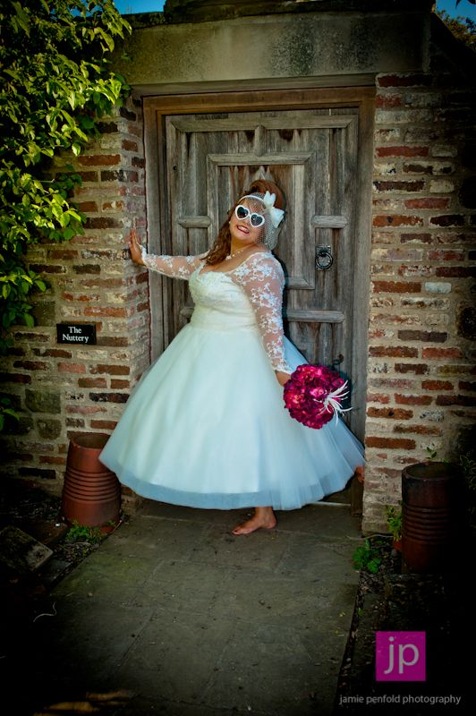 Zara in her tea length bespoke House of Mooshki lace and tulle ...
