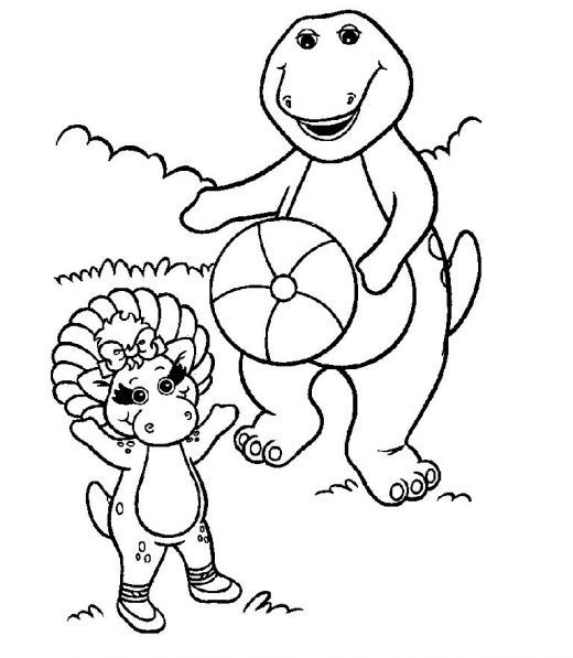 free printable barney coloring pages