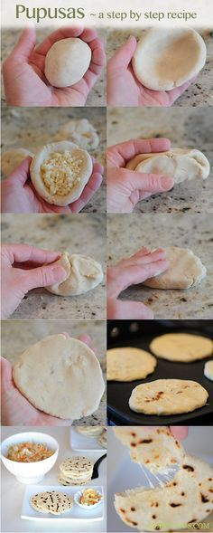 Pupusas: The most common Salvadoran dish! Corn dough filled with refried beens, pulled pork, mozzarella-like cheese or any combination of the above (revueltas). Diced squash or loroco (Fernaldia pandurata) are sometimes added with the cheese. Flattened and grilled. Served with curtido. No forks needed. #fingerfood #salvador #easyfood