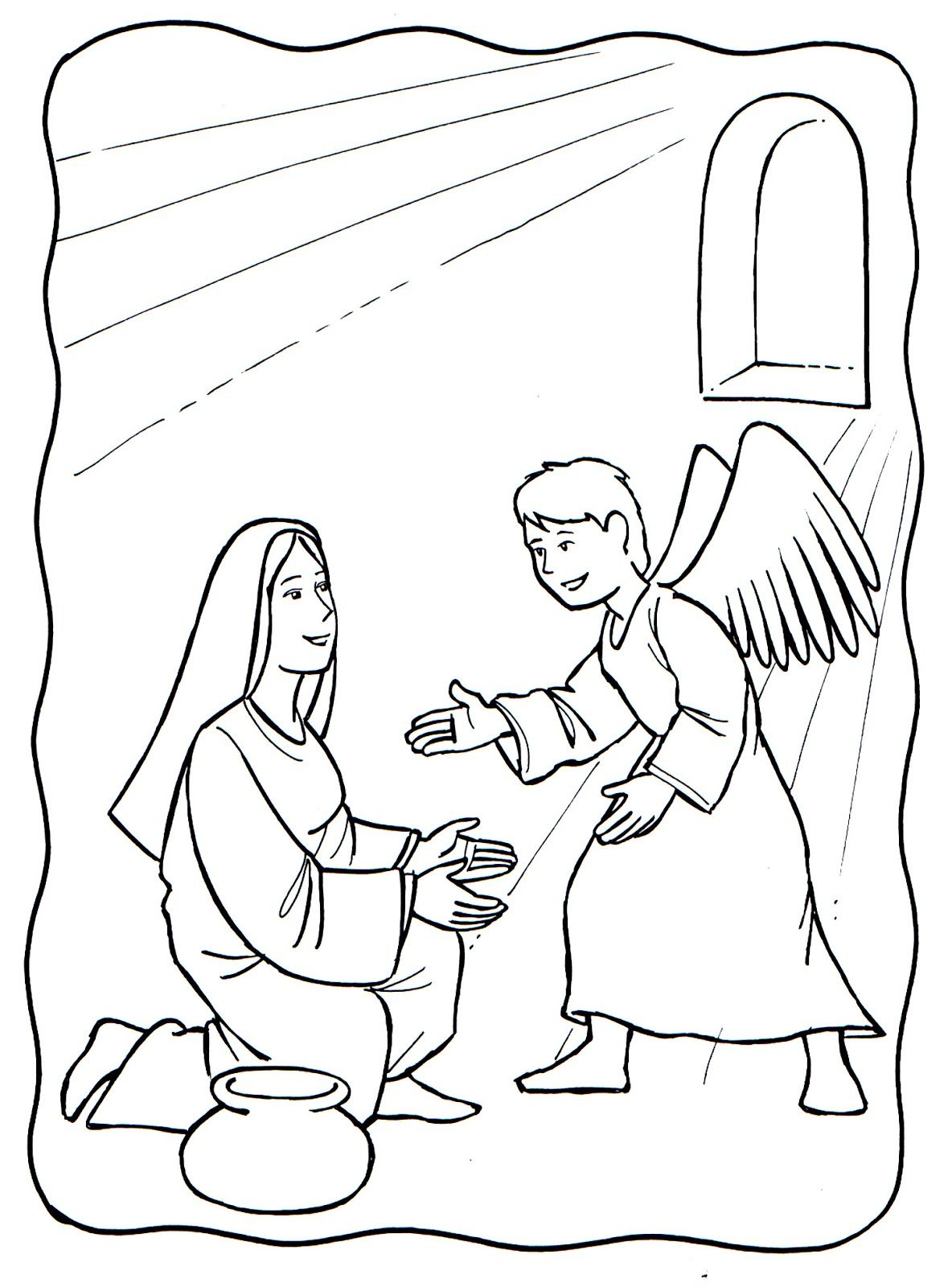 Resultado De Imagen Para Dibujo De La Anunciacion Del Angel Gabriel A Maria Sunday School Coloring Pages Angel Coloring Pages Bible Coloring Pages