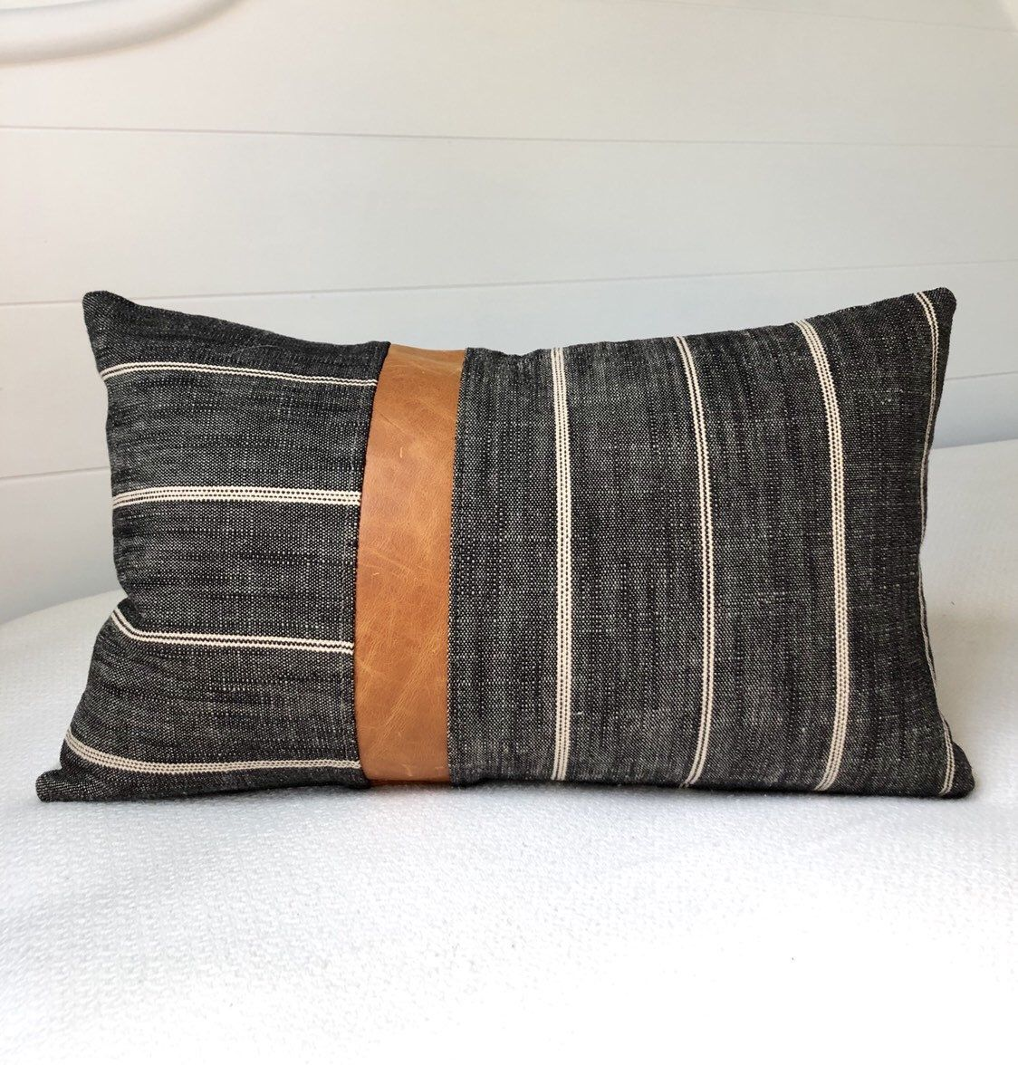 Leather Pillow Cover 12x20 Pillow Cover Leather Lumbar Pillow