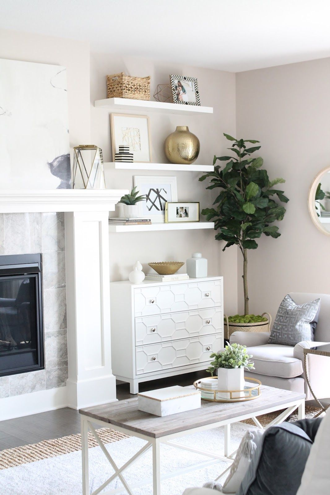 living room reveal how to fake built in shelving room tour