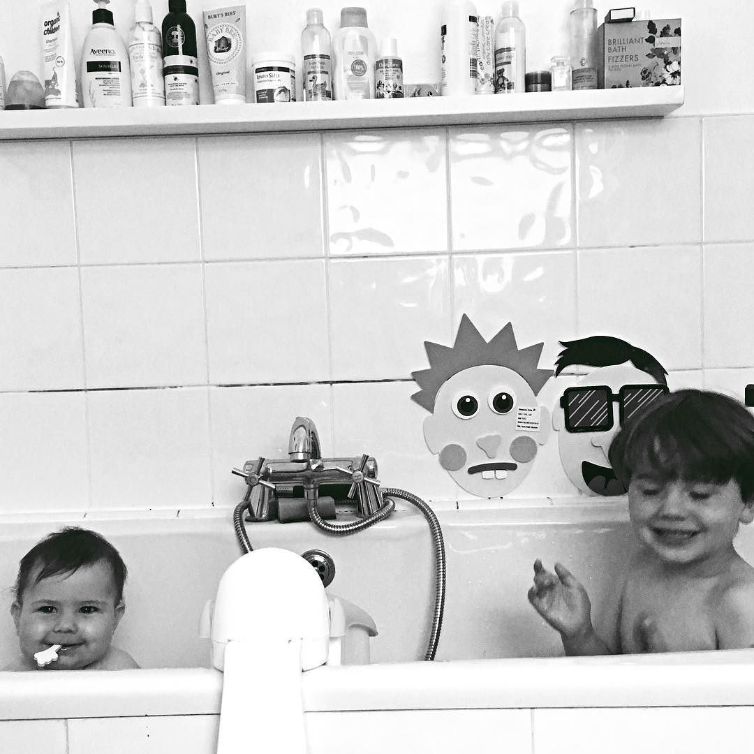 These two  every night lately when I do their baths I think 'I must get a picture of this' I remember bath times with my big brother being so much fun and after months of ' I don't want to share my bath with Mabby! She splashes too much!' (To be fair she did!) they are finally enjoying this time together. OK Mabli eats his bath toys and basically just laughs at everything he does but I'm loving them being able to interact even more.