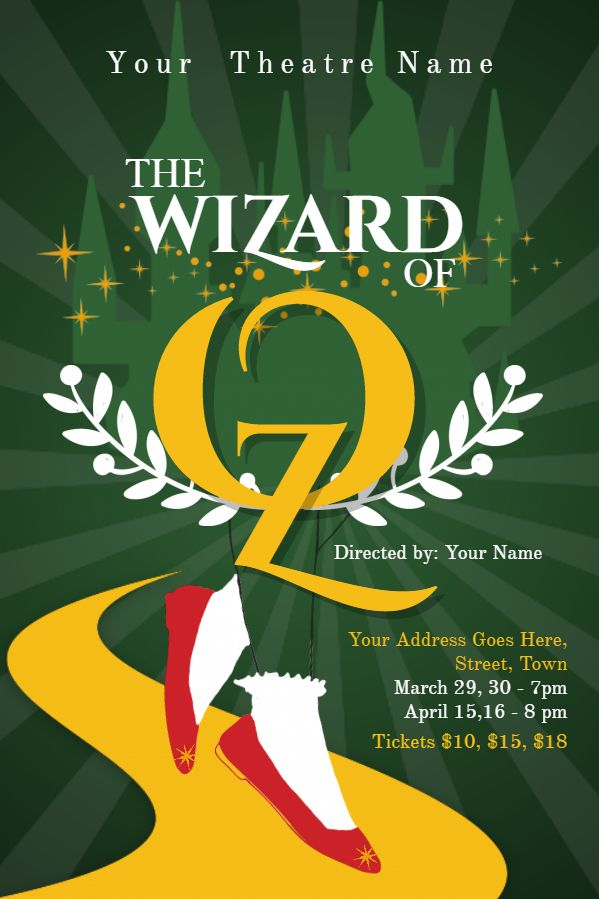 Wizard of Oz play poster template. Click to customize.   Plays and ...