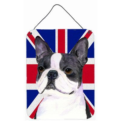 Carolineu0027s Treasures Boston Terrier With English Union Jack British Flag By  Suzanne Staines Graphic Art Plaque