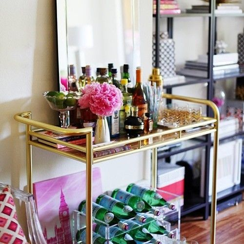 theglitterguide:  Such a glam bar cart! See it and more tomorrow...
