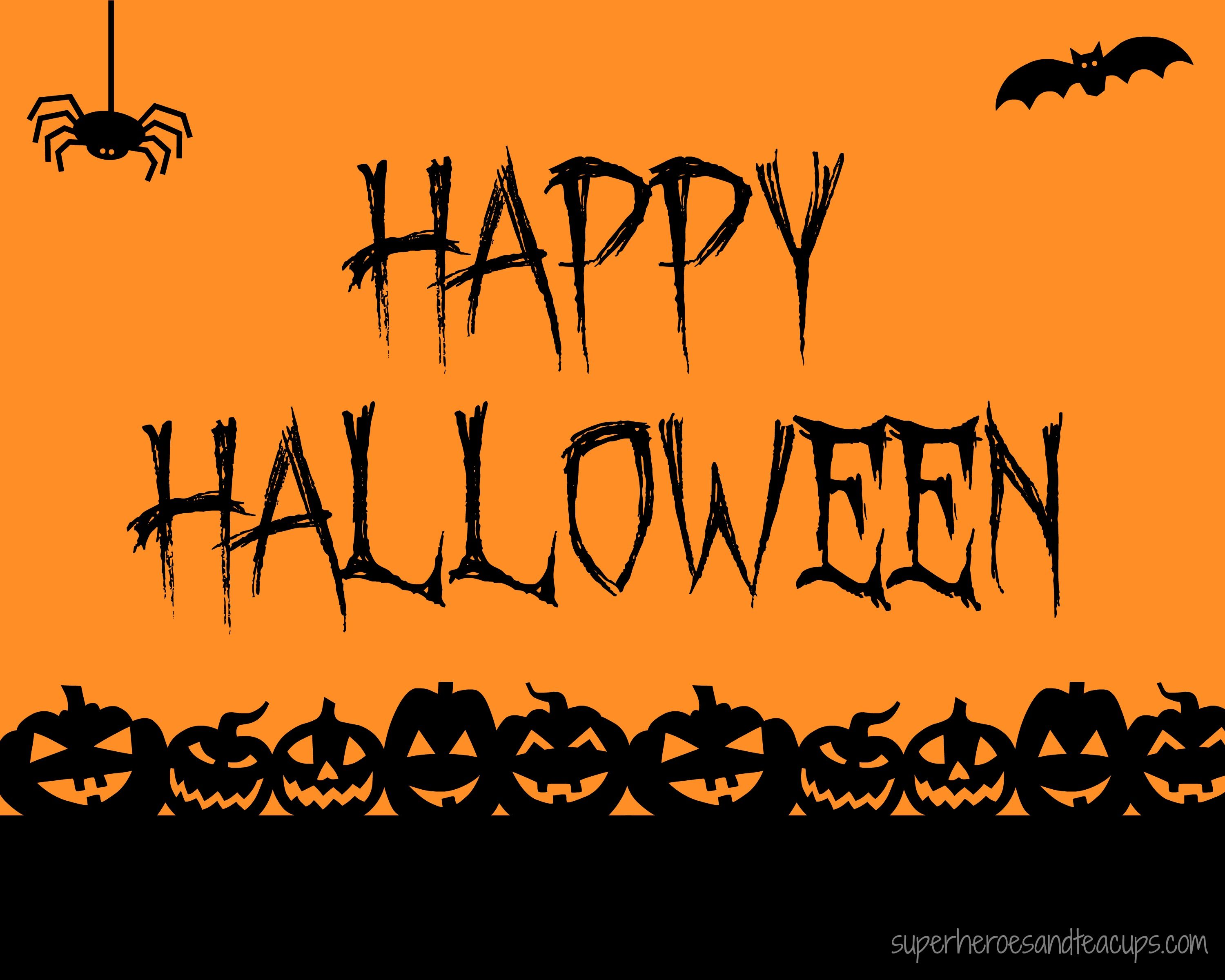 graphic relating to Happy Halloween Signs Printable identified as No cost Printable - Content Halloween Indication printables Satisfied