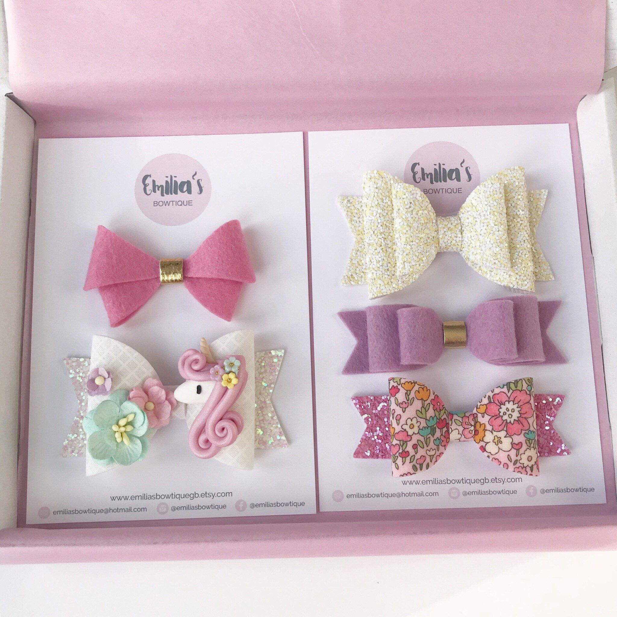 "SALE Girls SUPRISE cute glitter lace HAIR BOWS CLIPS BOX SET OF 20 4/"" 3/"""