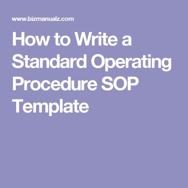 Writing Standard Operating Procedures (Writing SOP