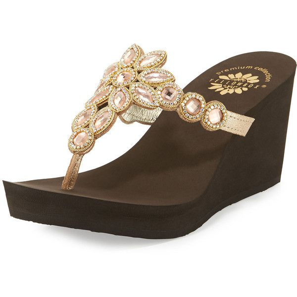 390aba2fe66c Premium Collection By Yellow Box Cerise Embellished Wedge Sandal ($67) ❤  liked on Polyvore featuring shoes, sandals, blush, platform wedge sandals,  ...