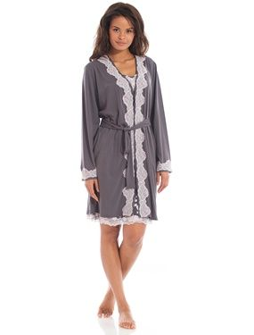 Ladies Kimono Dressing Gown With Lace Grey A Ladies Kimono Dressing