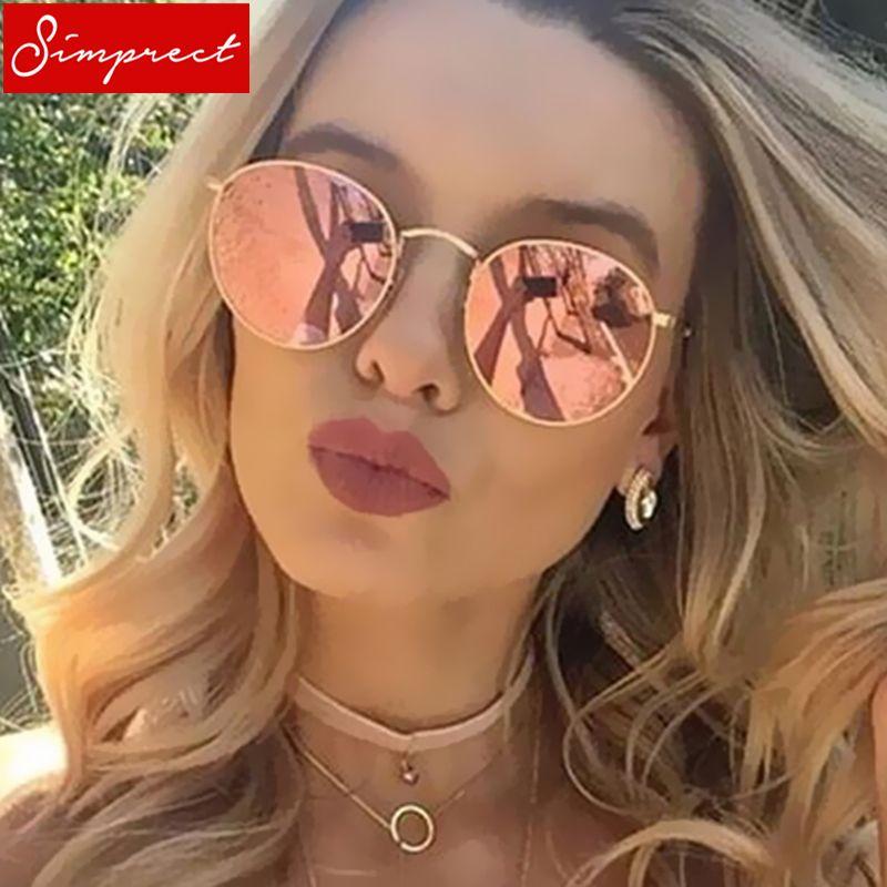 acheter SIMPRECT Ronde lunettes de Soleil Femmes 2018 Rétro Miroir En Métal  Cadre Lunettes de Soleil De Luxe Vintage Marque Designer Lunette De Soleil  Femme 5611bf09d55d