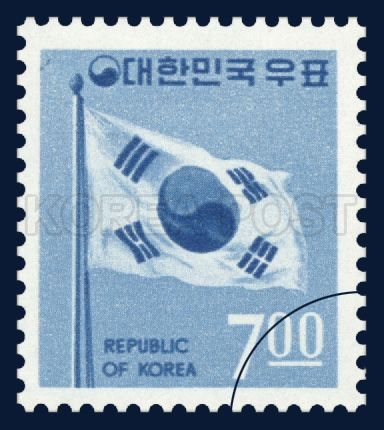 REGULAR STAMP, Taegeukgi, Sky blue, gravure blue, 1969 05 01, 보통우표, 1969년 05월 01일, 623, 태극기, Postage 우표,
