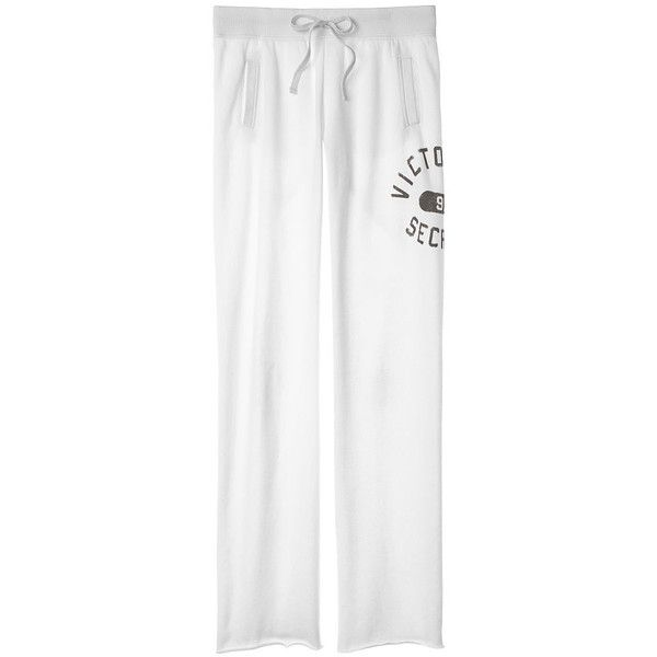 Victoria's Secret VS Boyfriend Pant (130 BRL) ❤ liked on Polyvore featuring pants, white short pants, long wide leg pants, white trousers, victoria secret pants and slouch pants