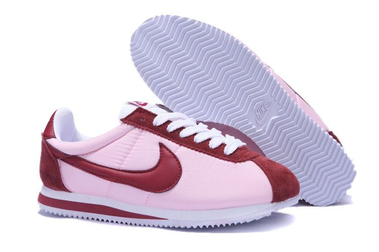 86f58f35ec55f Outlet Store Nike Cortez Nylon Vintage Pour Homme Baskets Rose Vin Blanc Pas  Cher