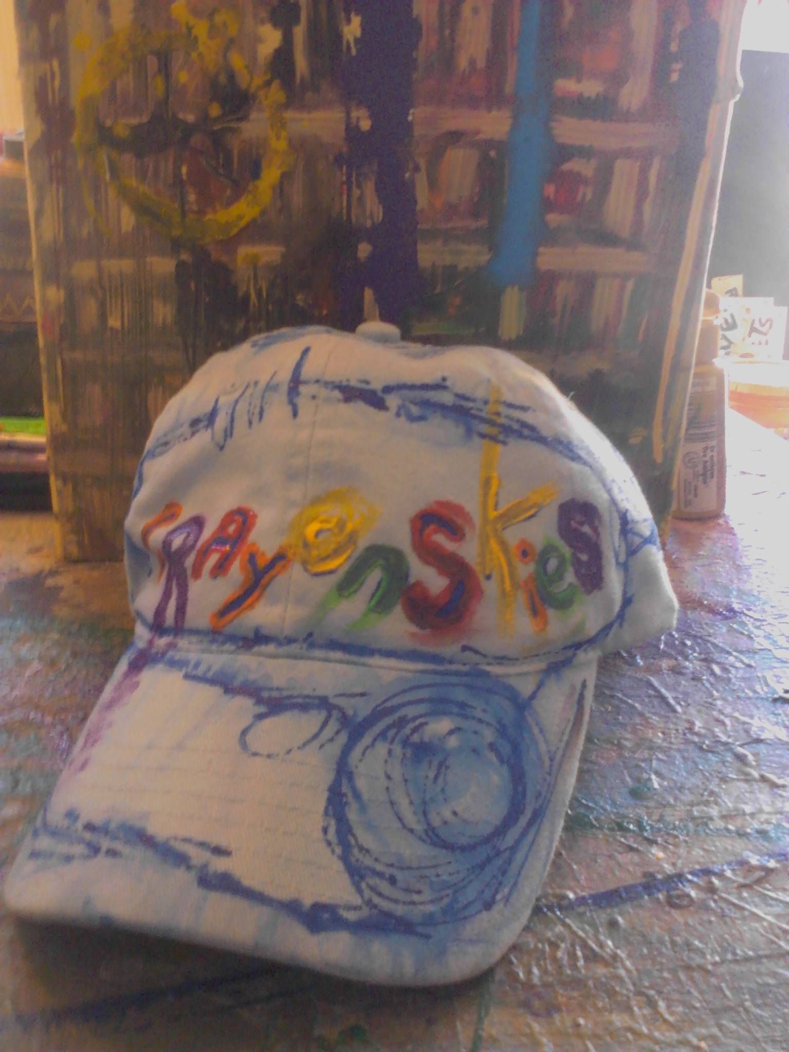 crayon skies hand painted hat