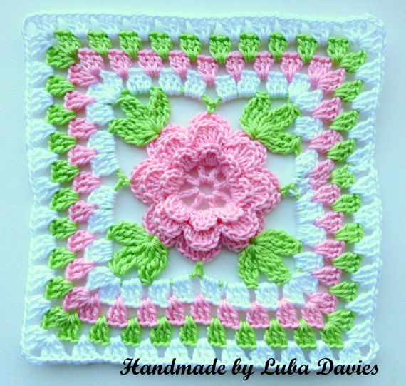 Instant Download Crochet PDF pattern Flower in granny square ...