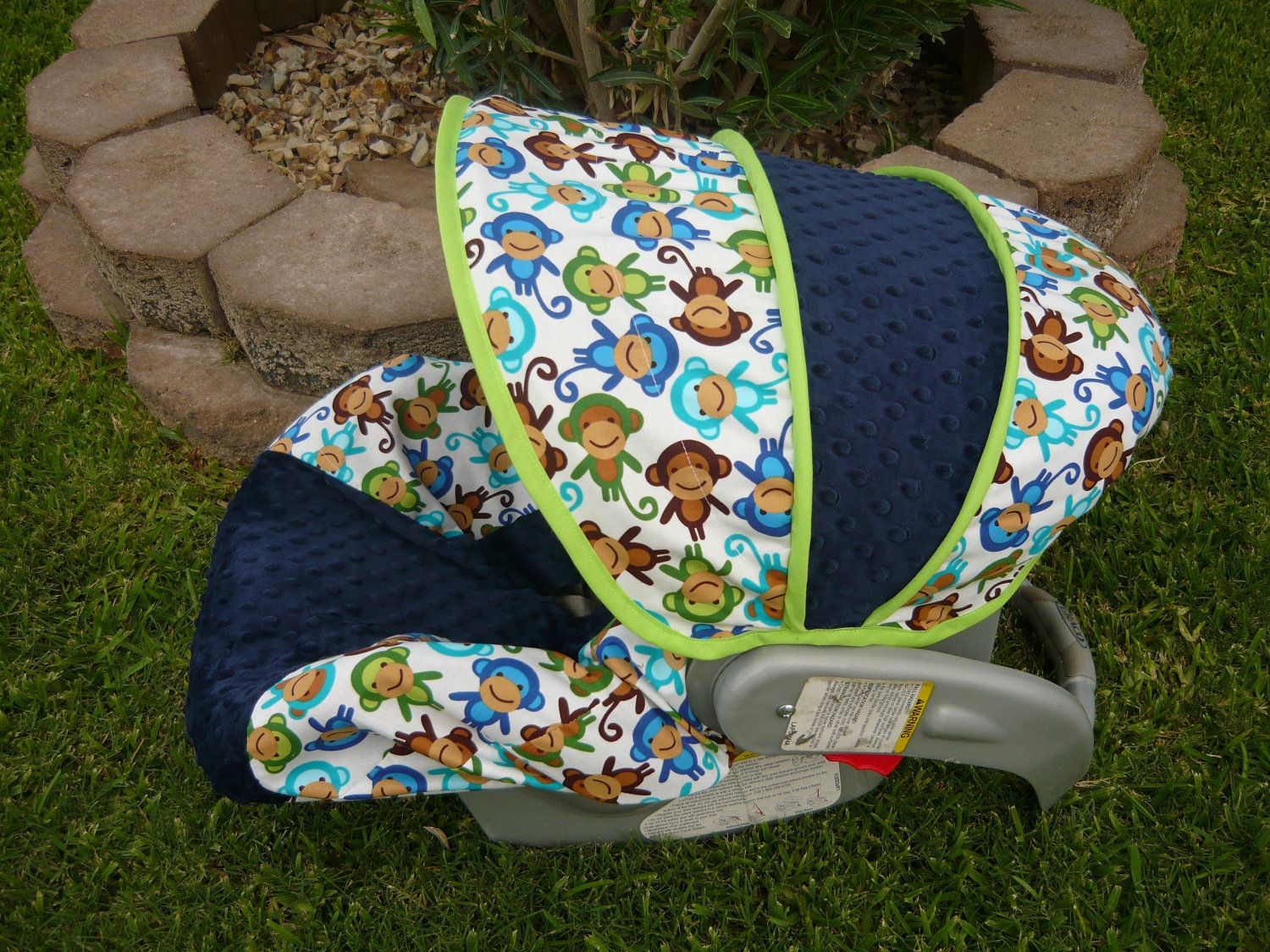 Royal Monkey With Navy Infant Car Seat Cover 6500 Via Etsy