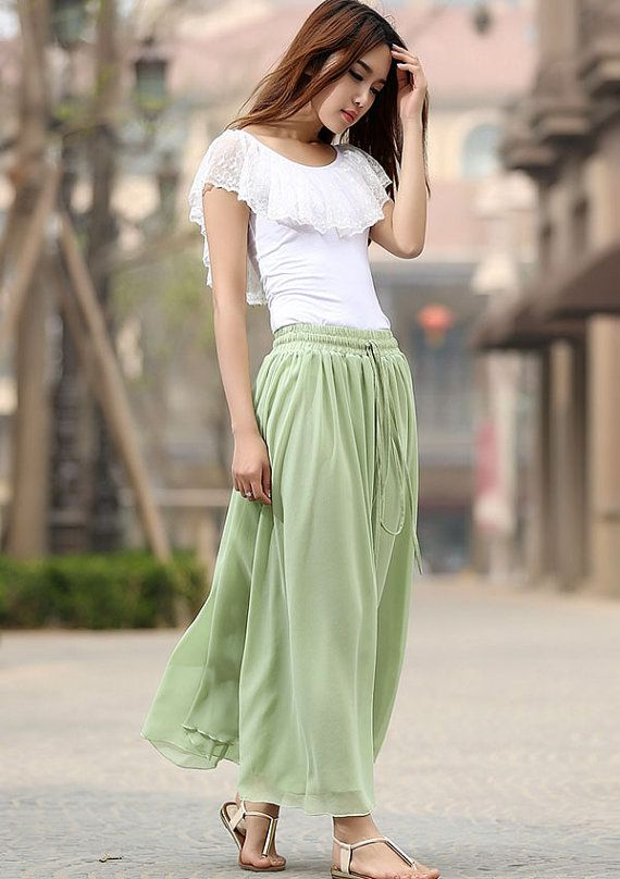 light green skirt woman chiffon skirt custom made Maxi skirt ...