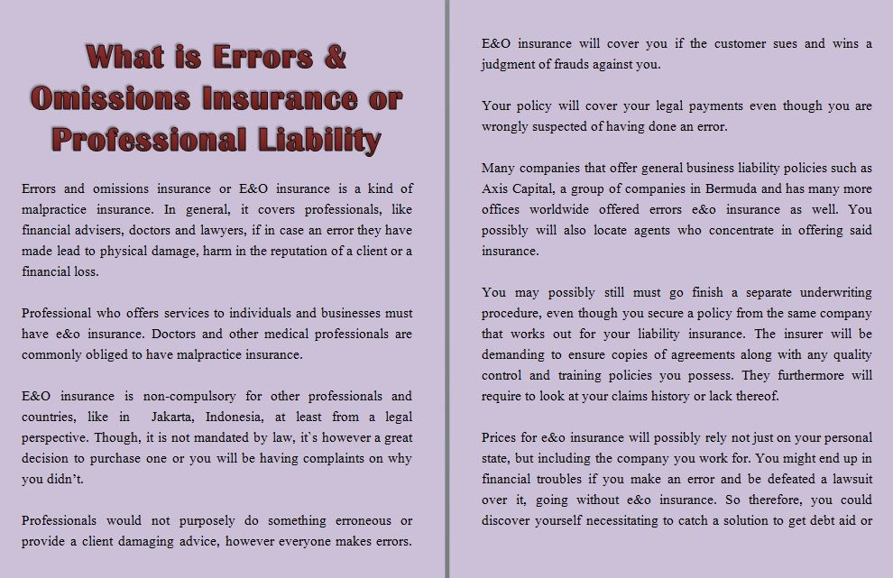 What Is Errors Omissions Insurance Or Professional Liability
