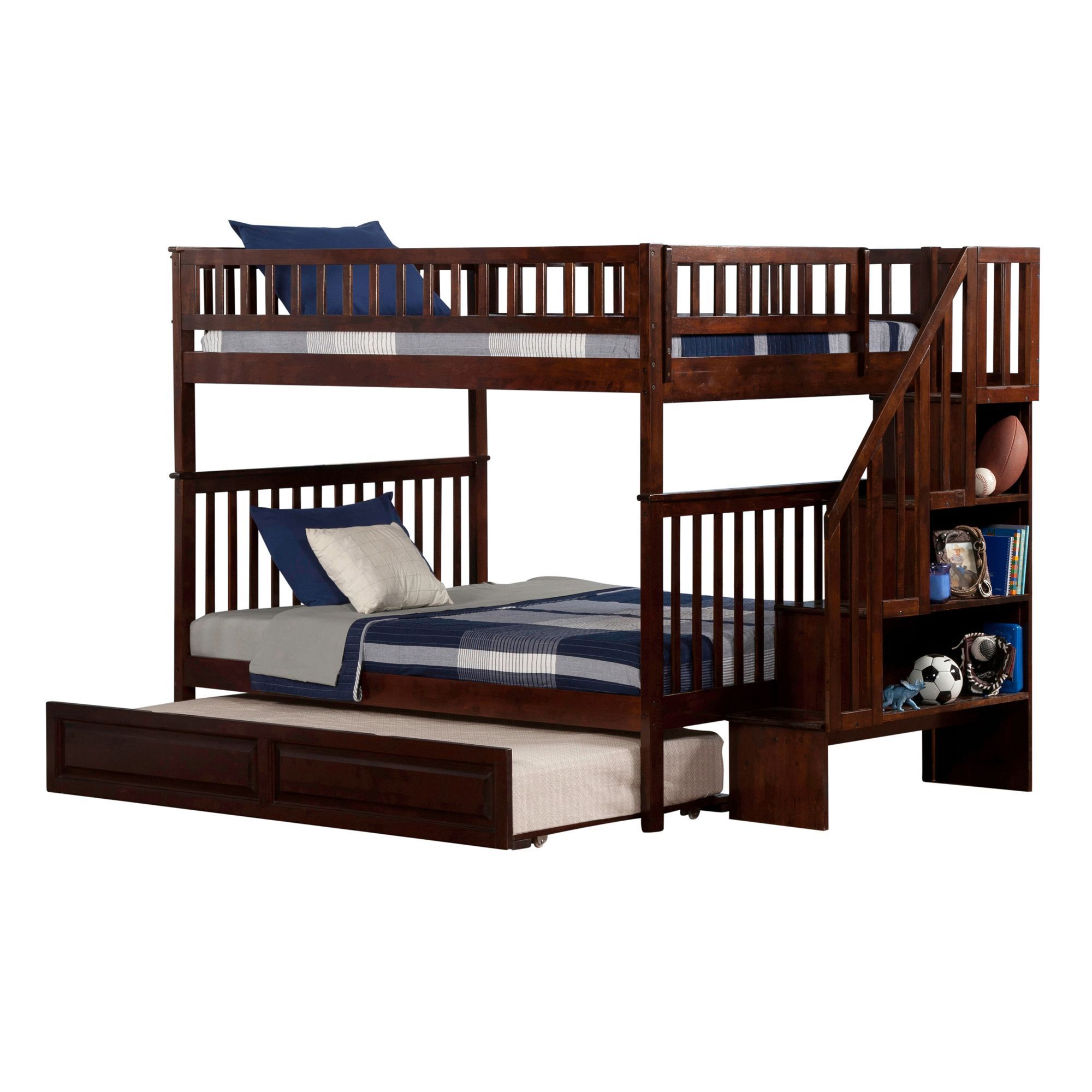 bunk in atlantic pin staircase beds with full walnut over woodland bed furniture trundle raised panel