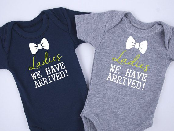 ladies we have arrived twin boy outfits, set of   gray  navy, Baby shower invitation