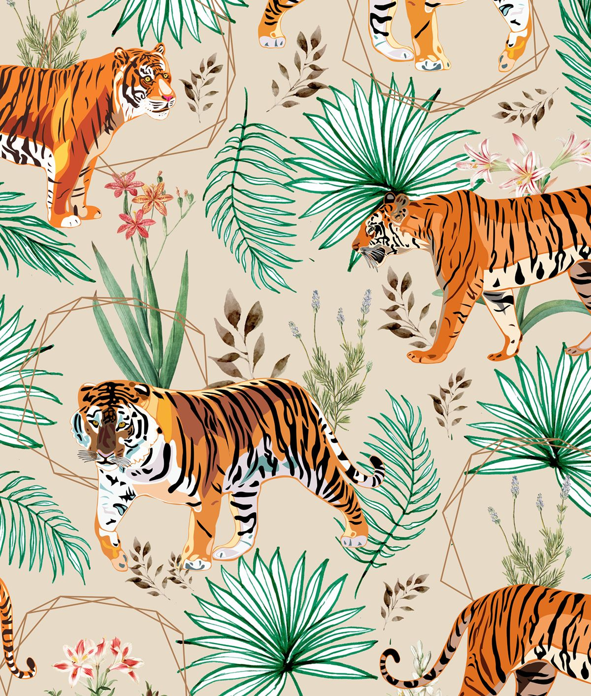 Tropical Tigers Art Print By 83 Oranges Tigers Illustration