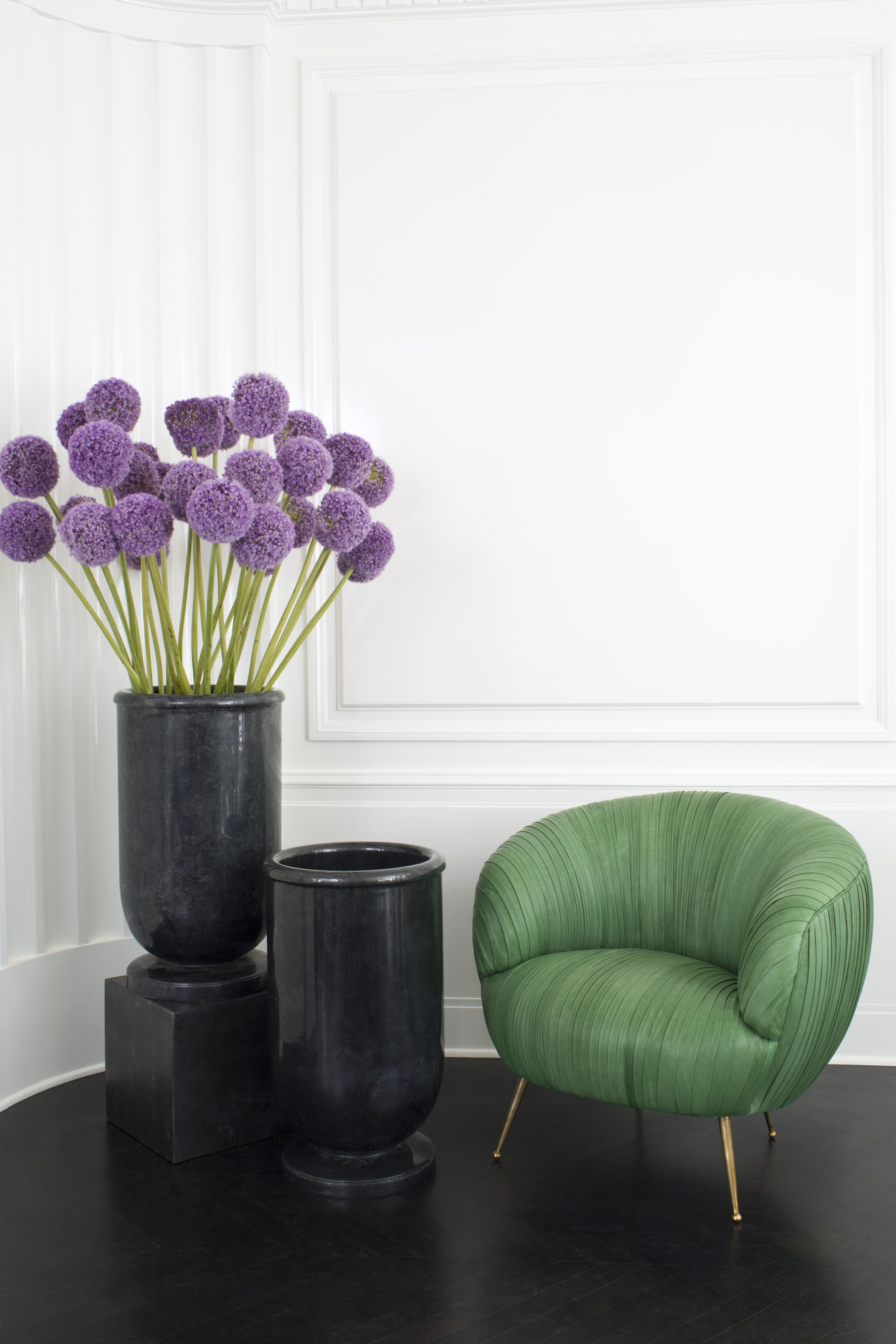 KELLY WEARSTLER | GREEN LEATHER SOUFFLE CHAIR. Ruched Leather Detail.  Full Finish,