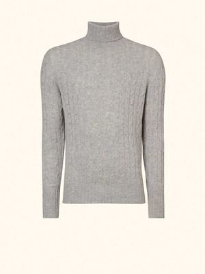 01c66f28dcb824 SPECTRE Cable Roll Neck Cashmere Sweater in Fumo Grey - N.PEAL Luxury  Cashmere
