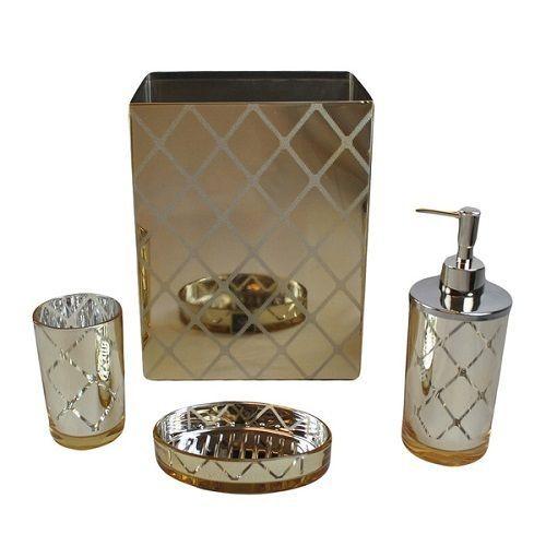 shiny gold bathroom accessory set mirrored 4 pc bath ensemble soap