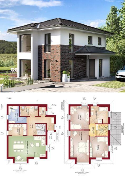 Stadtvilla modern mit Klinker Putz Fassade - Haus Grundriss Edition