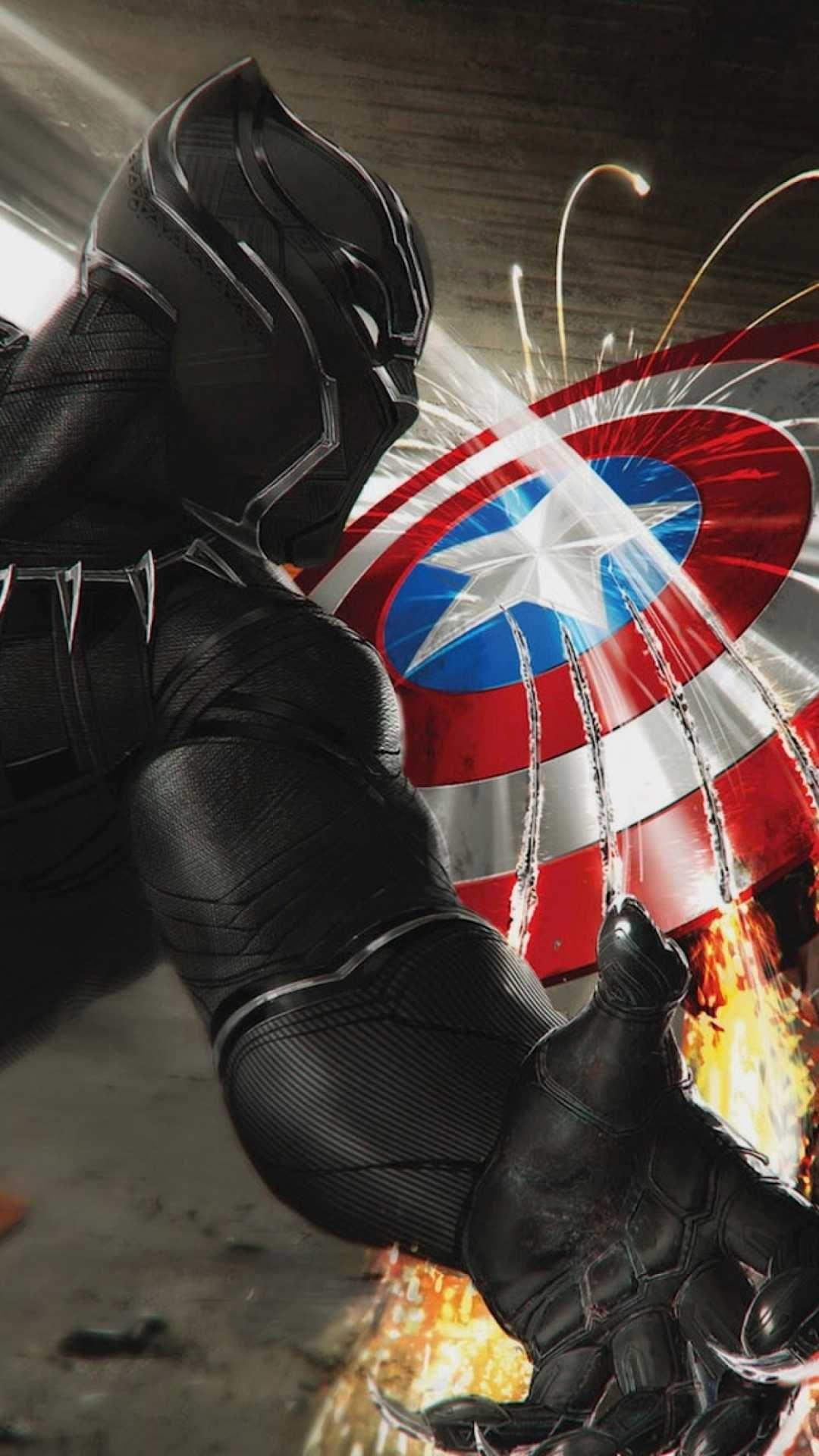 Black Panther vs Captain America iPhone Wallpaper Iphone