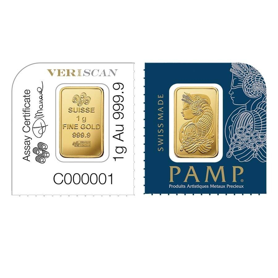 Lot Of 2 1 Gram Gold Bar Pamp Suisse Lady Fortuna 9999 Fine In Assay From Gold Bar Fortuna Branded Mints