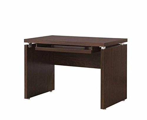 Office Computer Desk Top With Large Working Area And A Keyboard Tray In Dark Oak Finish