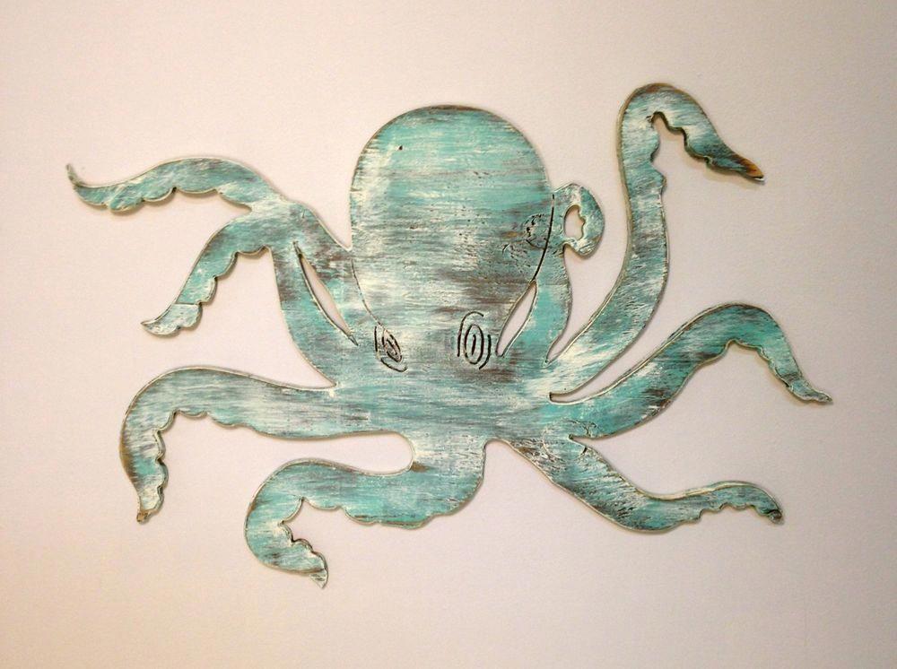 Octopus Beach Salt Life Tiki Ocean Sea Nautical Decor Wood ...