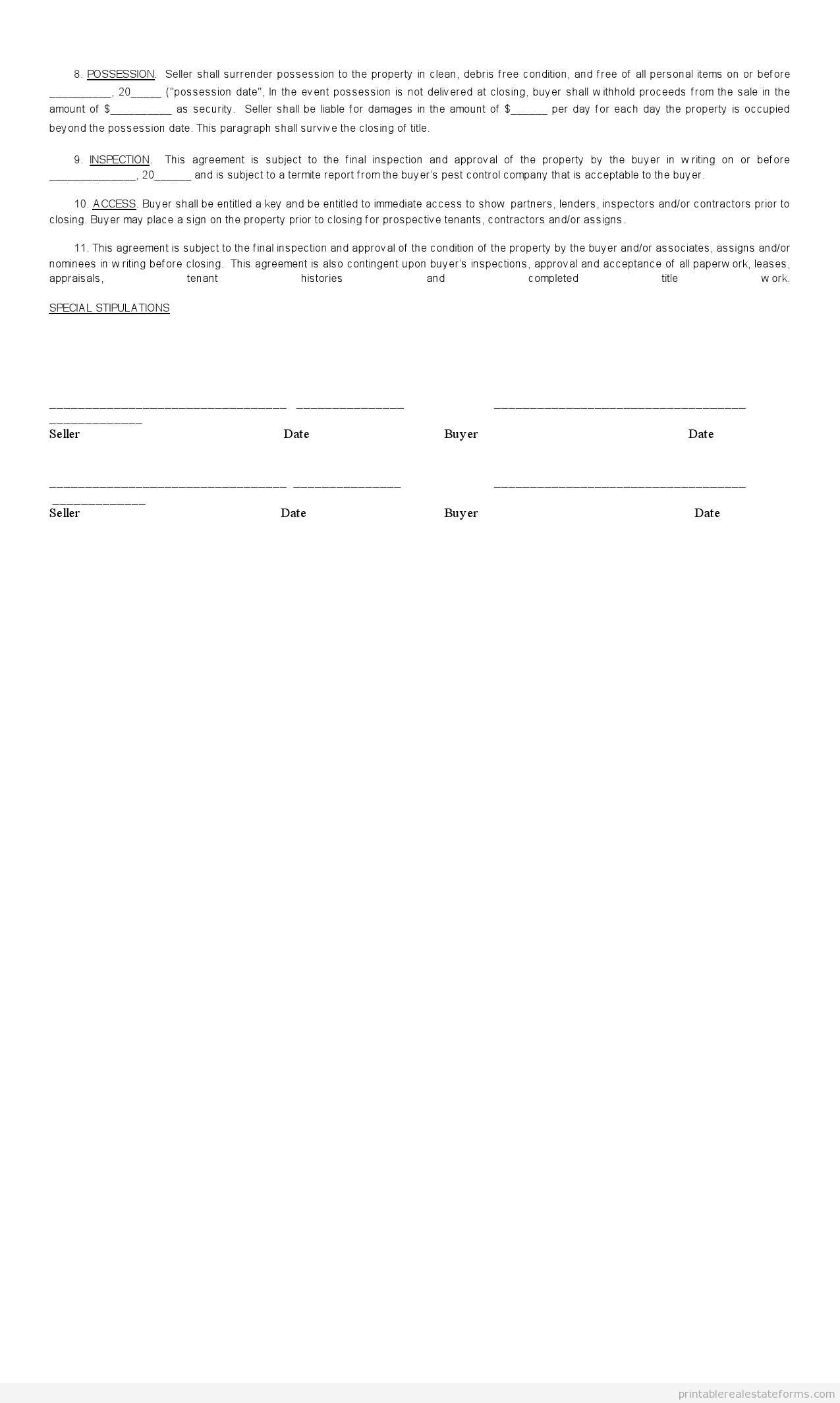 Sample Printable sales contract for buying subject 2 Form – Sales Contract Sample