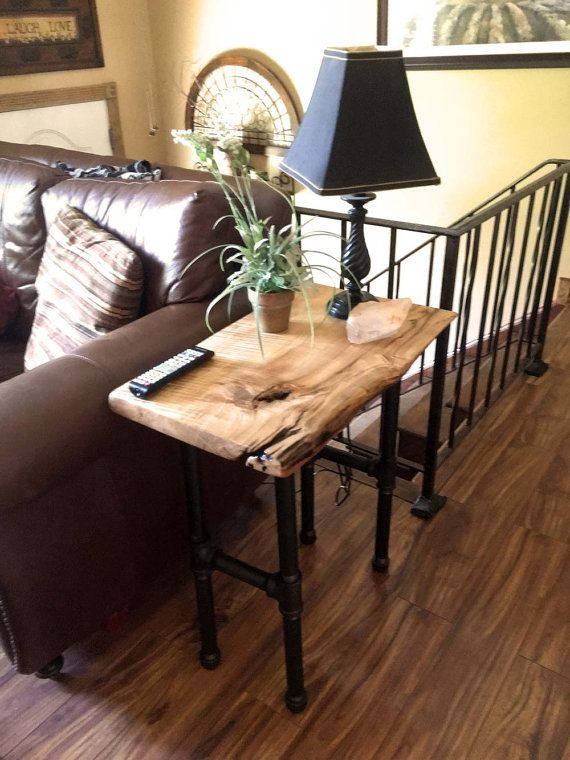 wood side tables living room how to decorate with corner fireplace natural end table live edge tiger maple accent rustic industrial style black pipe legs