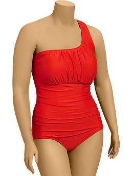 4eca59af38 Old Navy Orange Ruched One-Should Plus Size Swimsuit.
