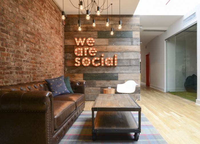 awesome red brick wall interior design | Office Tour: We Are Social – New York City Offices ...