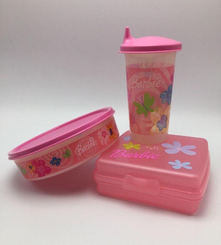 Barbie Tupperware Kids Pink Lunch Set Cup Lid Wonder Bowl and Sandwich Keeper & Barbie Tupperware Kids Pink Lunch Set Cup Lid Wonder Bowl and ...